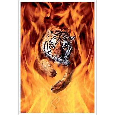 Tigre du Bengale bondissant au-dessus des flammes, toile, 24 x 36 po