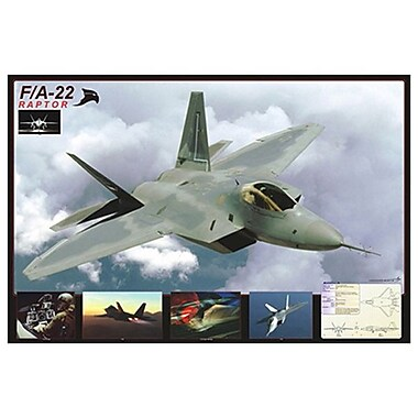 Avion F/A-22 Raptor, toile tendue, 24 x 36 po