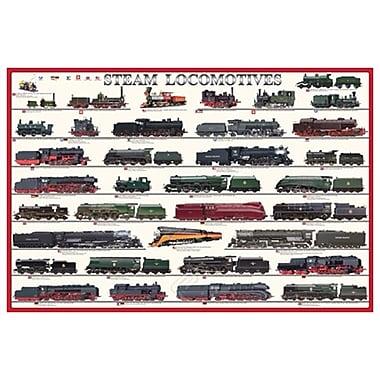 Locomotives à vapeur, toile tendue, 24 x 36 po