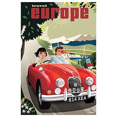 Travel Europe, Red Jaguar par Crampton, toile, 24 x 36 po