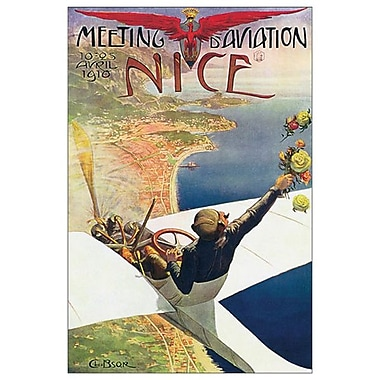 Meeting d'aviation, Nice par Brosse, toile, 24 x 36 po