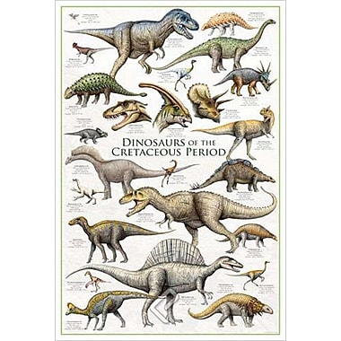 Dinosaurs Cretaceous Period, Stretched Canvas, 24