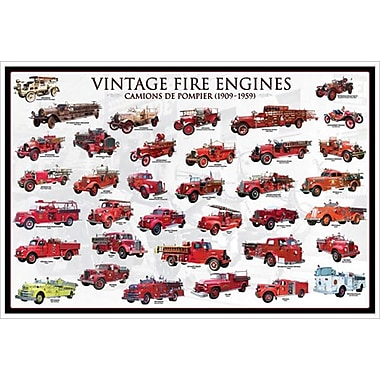 Vintage Fire Engines, Stretched Canvas, 24
