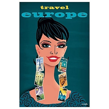 Travel Europe Woman by Crampton, Canvas, 24
