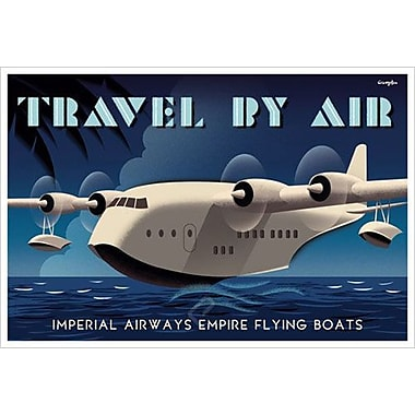Travel by Air bleu de Crampton, toile, 24 x 36 po