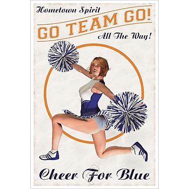 Cheer For Blue: Go Team Go, toile tendue, 24 x 36 po