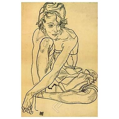 Accroupie de Schiele, toile, 24 x 36 po