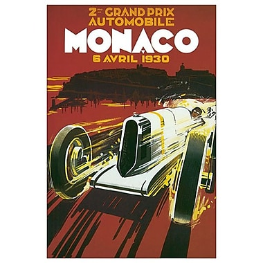 2e Grand Prix de Monaco, toile tendue, 24 x 36 po