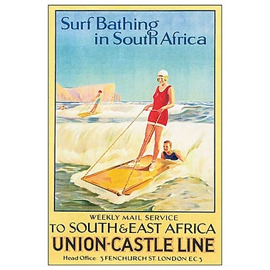 Surf Bathing in South Africa, Stretched Canvas, 24