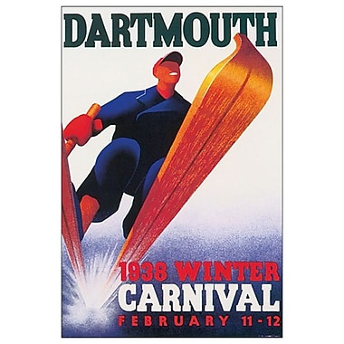 Dartmouth 1938 Winter Carnival, toile tendue, 24 x 36 po