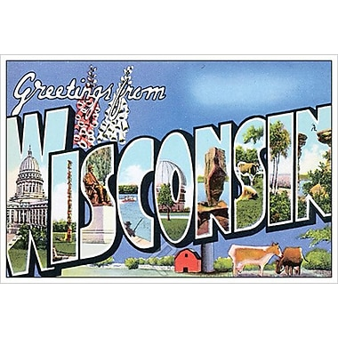 Greetings from Wisconsin, toile tendue, 24 x 36 po