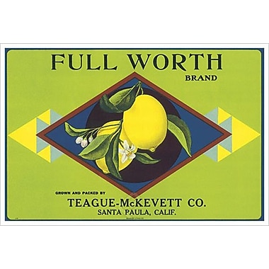 Full Worth Citrus California, toile tendue, 24 x 36 po