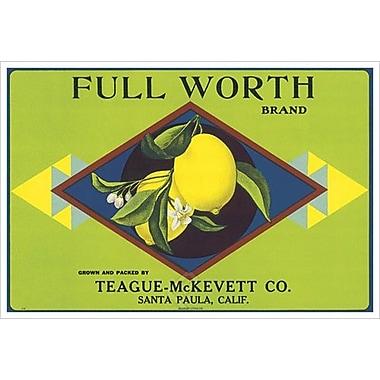 Full Worth Citrus California, Stretched Canvas, 24