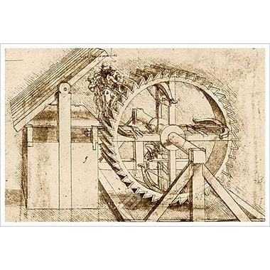 Arbalète actionnée par roue mécanique de da Vinci, toile, 24 x 36 po