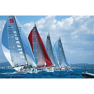 Régate de bateaux à voile, toile tendue, 24 po x 36 po