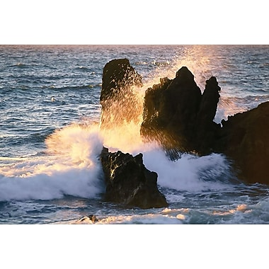 Waves Breaking On Shore Rocks, Stretched Canvas, 24