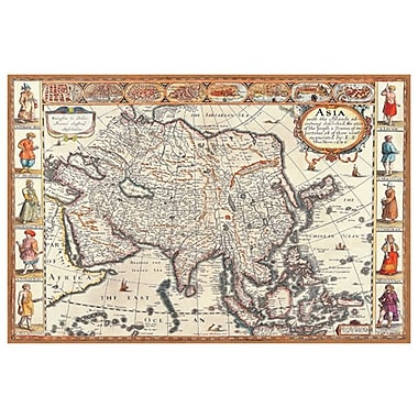 Carte de l'Asie, toile tendue, 24 x 36 po