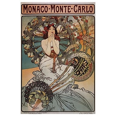 « Monaco Monte-Carlo » par Mucha, toile, 24 x 36 po