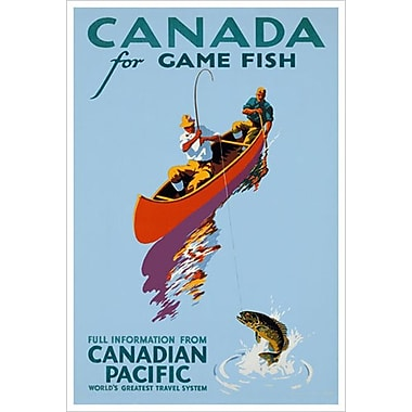 Canadian Pacific – Canada for Game Fish, toile tendue, 24 x 36 po