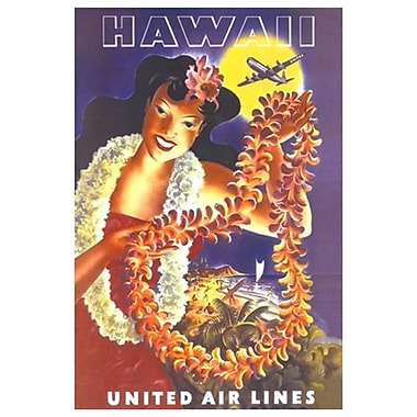 Hawaii United Air Lines, toile tendue, 24 x 36 po