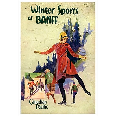 Canadian Pacific – Winter Sports at Banff I, toile tendue, 24 x 36 po