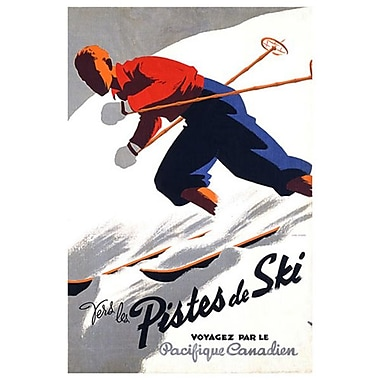 CP Vers les Pistes de Ski, Stretched Canvas, 24