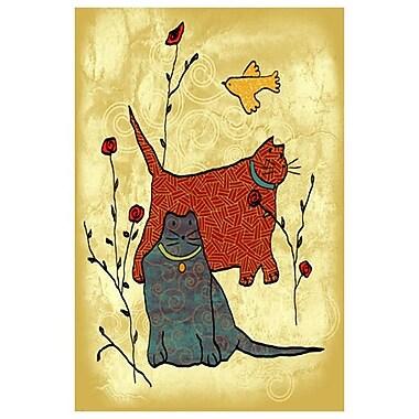 Chats et roses de Keenan, toile de 24 x 36 po