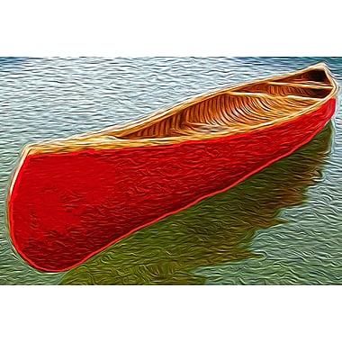 Canot sur le lac Carr, toile tendue, 24 x 36 po