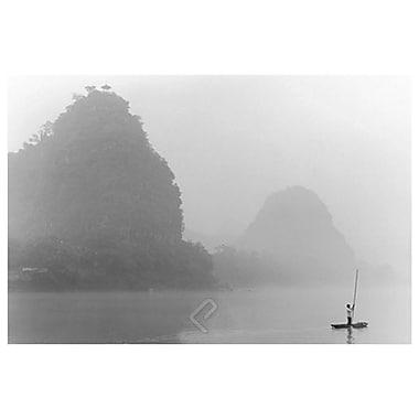 Fleuve brumeux, Guilin, Chine, toile tendue, 24 x 36 po