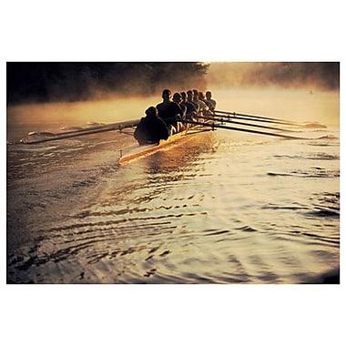 Équipe qui descend une rivière, toile tendue, 24 x 36 po