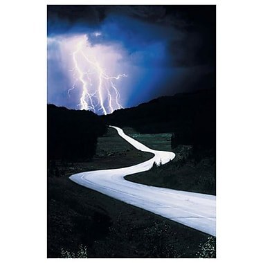 Lightning on Road, Stretched Canvas, 24