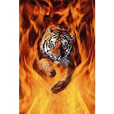 Bengal Tiger Jumping Flames Poster, 24