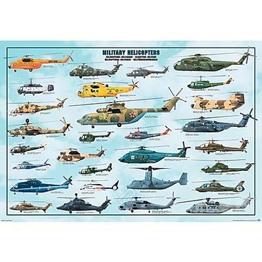 Hélicoptères militaires, affiche de 26 3/4 x 38 1/2 po