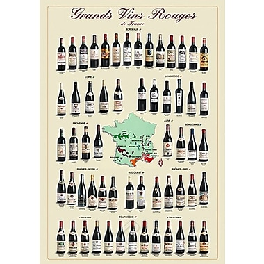 Grands vins rouges de France, affiche de 26 3/4 x 38 1/2 po