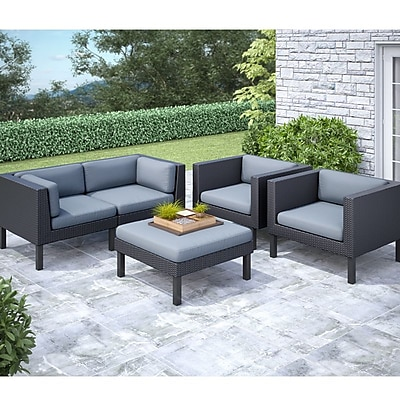 CorLiving Oakland 5-Piece Sofa and Chair Patio Set, Dove Gray/Black 1031190
