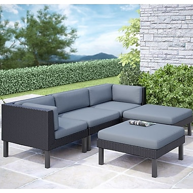 CorLiving™ Oakland 5-Piece Sofa With Chaise Lounge Patio Set, Dove Gray/Black