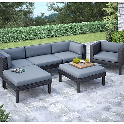 CorLiving Oakland 6-Piece Sofa With Chaise Lounge and Chair Patio Set, Dove Gray/Black 1031193