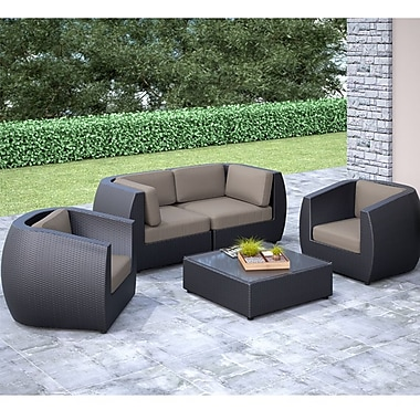 CorLiving™ Seattle Curved 5-Piece Sofa and Chair Patio Set, Sultry Gray/Black