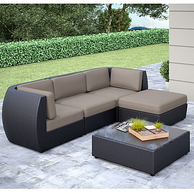 CorLiving™ Seattle Curved 5-Piece Sofa With Chaise Lounge Patio Set, Sultry Gray/Black