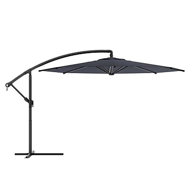 CorLiving™ Tilting 3m Offset Patio Umbrella, Black Polyester