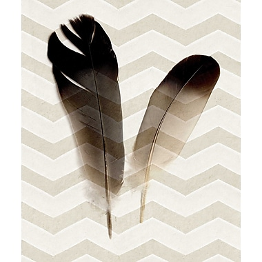 Marmont HIll 'Zig Zag Feathers' Painting Print on Wrapped Canvas; 24'' H x 16'' W