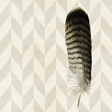 Marmont HIll 'Striped Feather' Painting Print on Wrapped Canvas; 32'' H x 32'' W