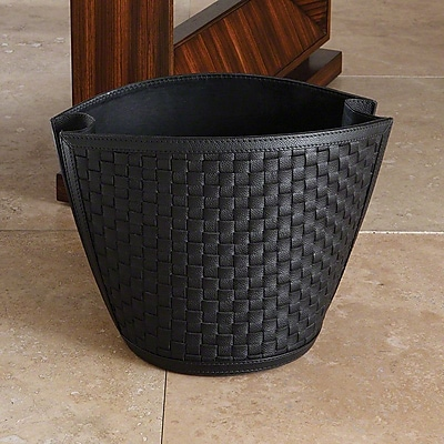 Global Views Leather Waste Basket; Black