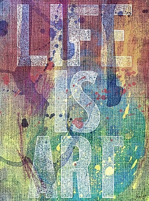 Marmont HIll 'Life Is Art' by Jen Lee Painting Print on Wrapped Canvas; 18'' H x 12'' W