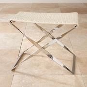 Global Views Woven Cowhide Bench; Ivory