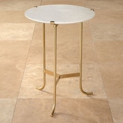Global Views Plie End Table; Polished Brass / White Honed Marble