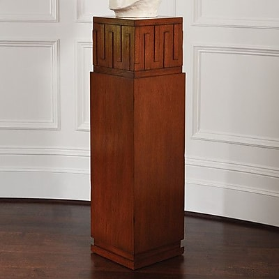 Global Views French Key Pedestal Plant Stand; Dark Oak