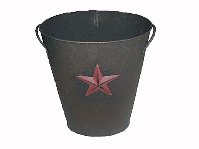 Craft Outlet Country Star Tin Bucket; Antique Black and Red