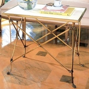 Global Views End Table; Brass, White Marble Top