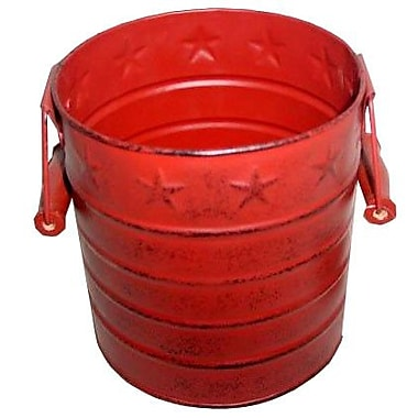 Craft Outlet Star Tin Pail w/ Wooden Handle; Barn Red